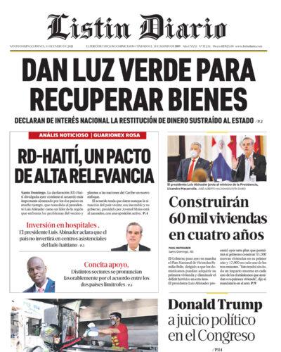 Portada Periódico Listín Diario, Jueves 14 de Enero, 2021
