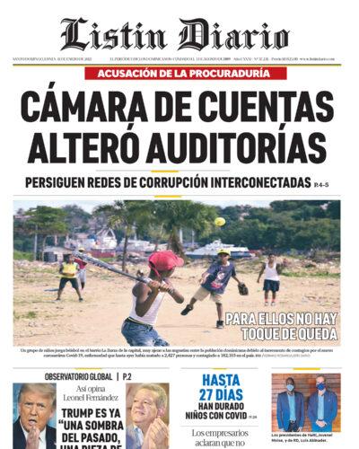 Portada Periódico Listín Diario, Lunes 11 de Enero, 2021