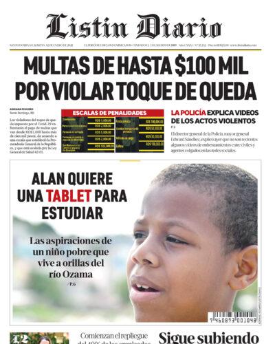 Portada Periódico Listín Diario, Martes 12 de Enero, 2021