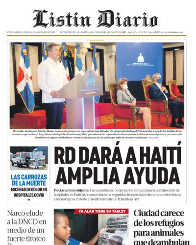 Portada Periódico Listín Diario, Miércoles 13 de Enero, 2021