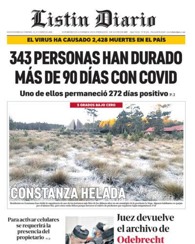 Portada Periódico Listín Diario, Viernes 15 de Enero, 2021