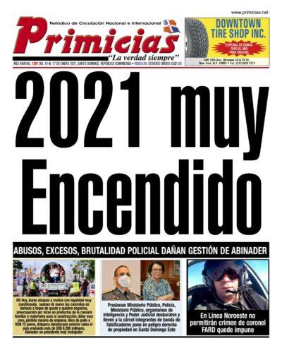 Portada Periódico Primicias, Jueves 14 de Enero, 2021