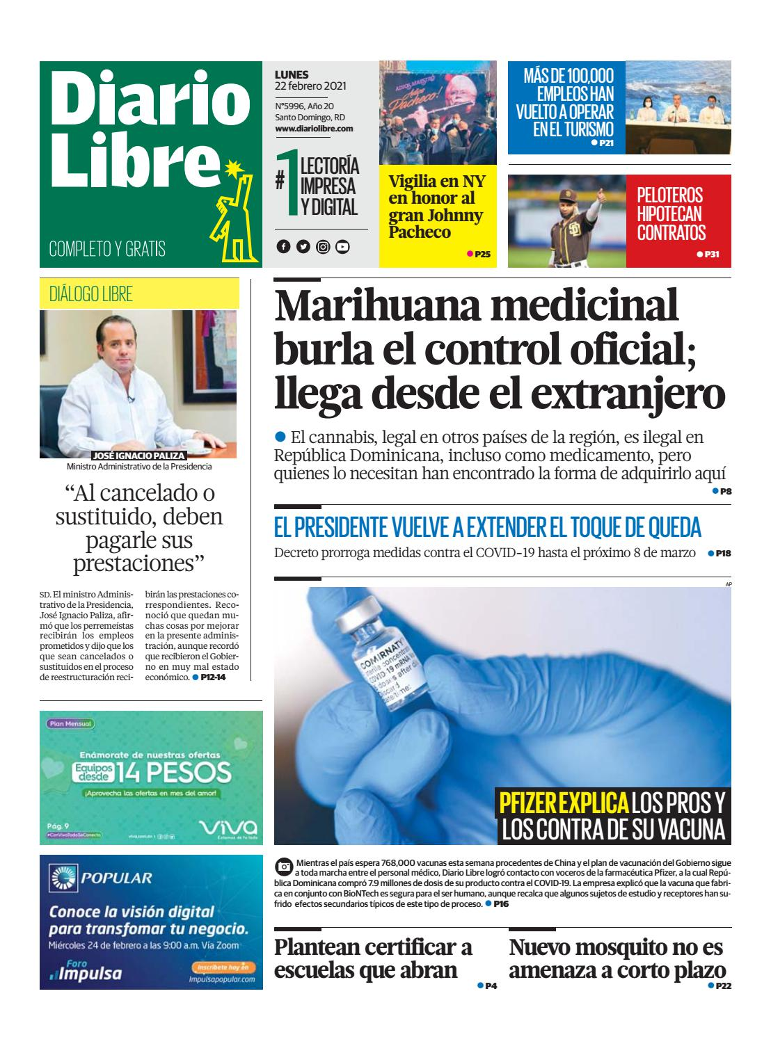 Portada Periódico Diario Libre, Lunes 22 de Febrero, 2021