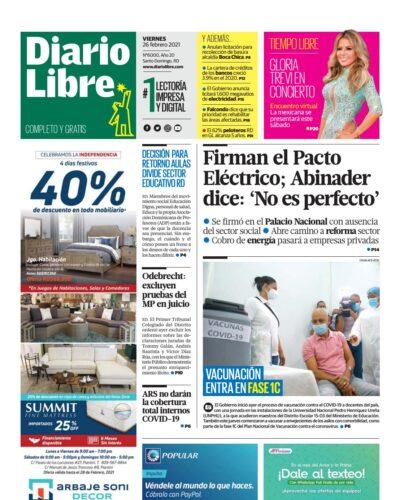 Portada Periódico Diario Libre, Viernes 26 de Febrero, 2021