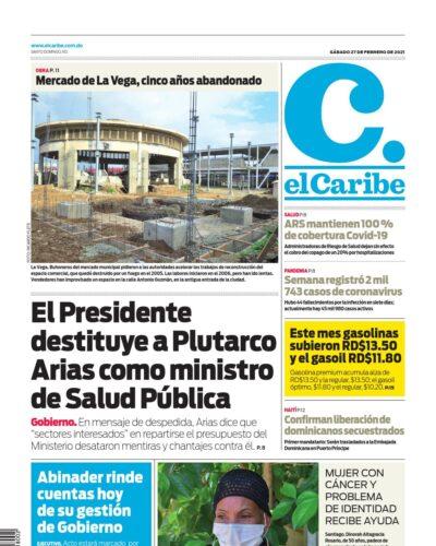 Portada Periódico El Caribe, Viernes 26 de Febrero, 2021