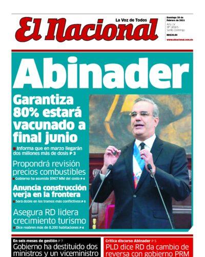 Portada Periódico El Nacional, Domingo 28 de Febrero, 2021