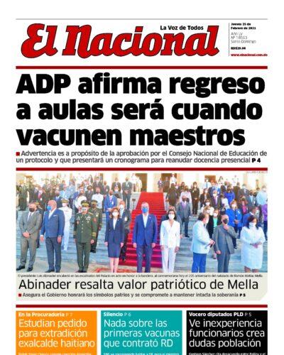 Portada Periódico El Nacional, Jueves 25 de Febrero, 2021