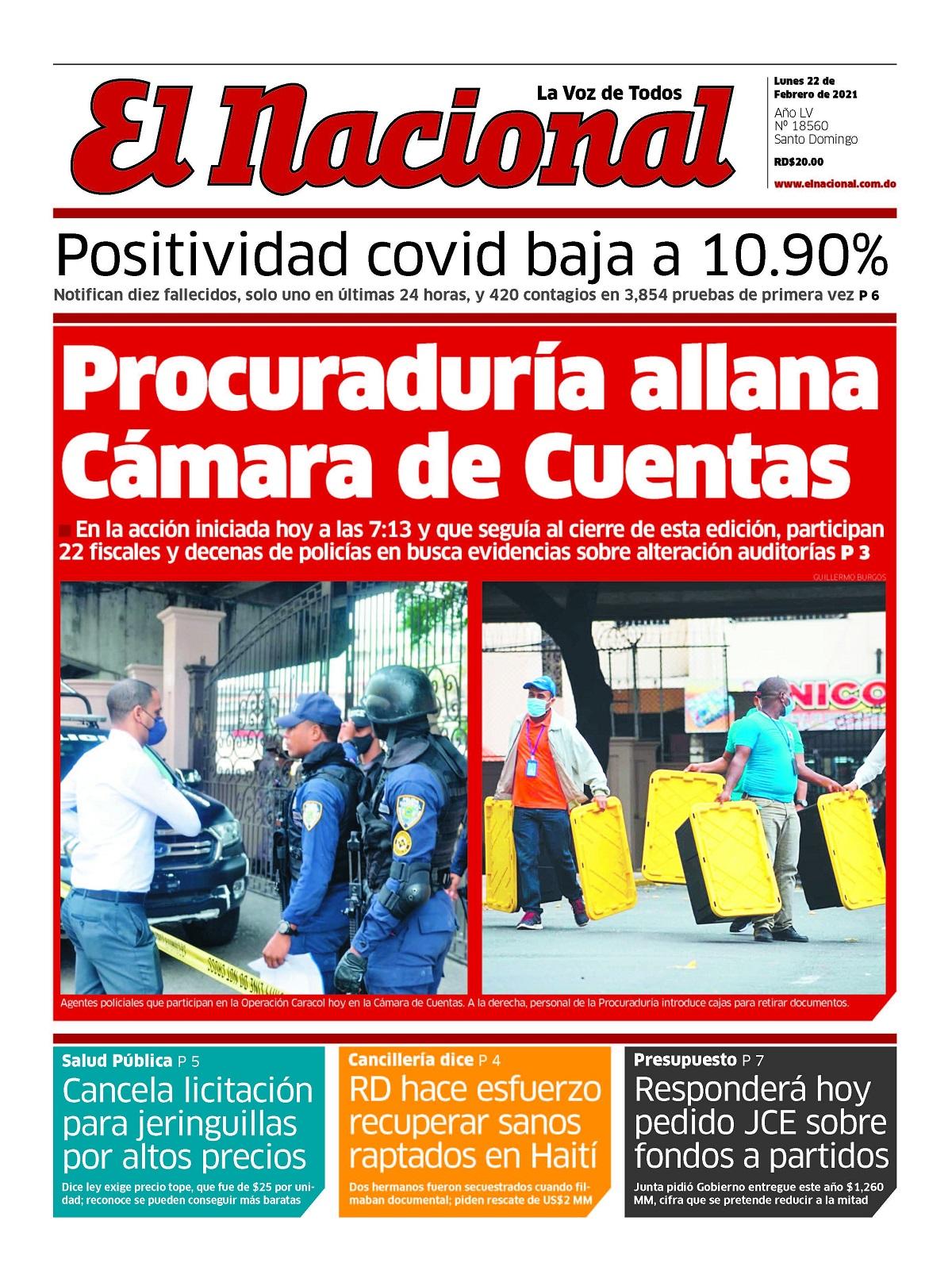 Portada Periódico El Nacional, Lunes 22 de Febrero, 2021