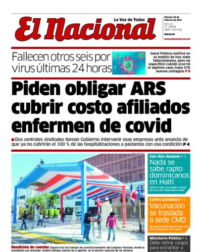 Portada Periódico El Nacional, Viernes 26 de Febrero, 2021