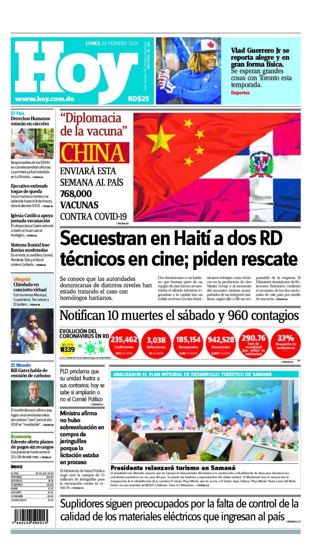 Portada Periódico Hoy, Lunes 22 de Febrero, 2021