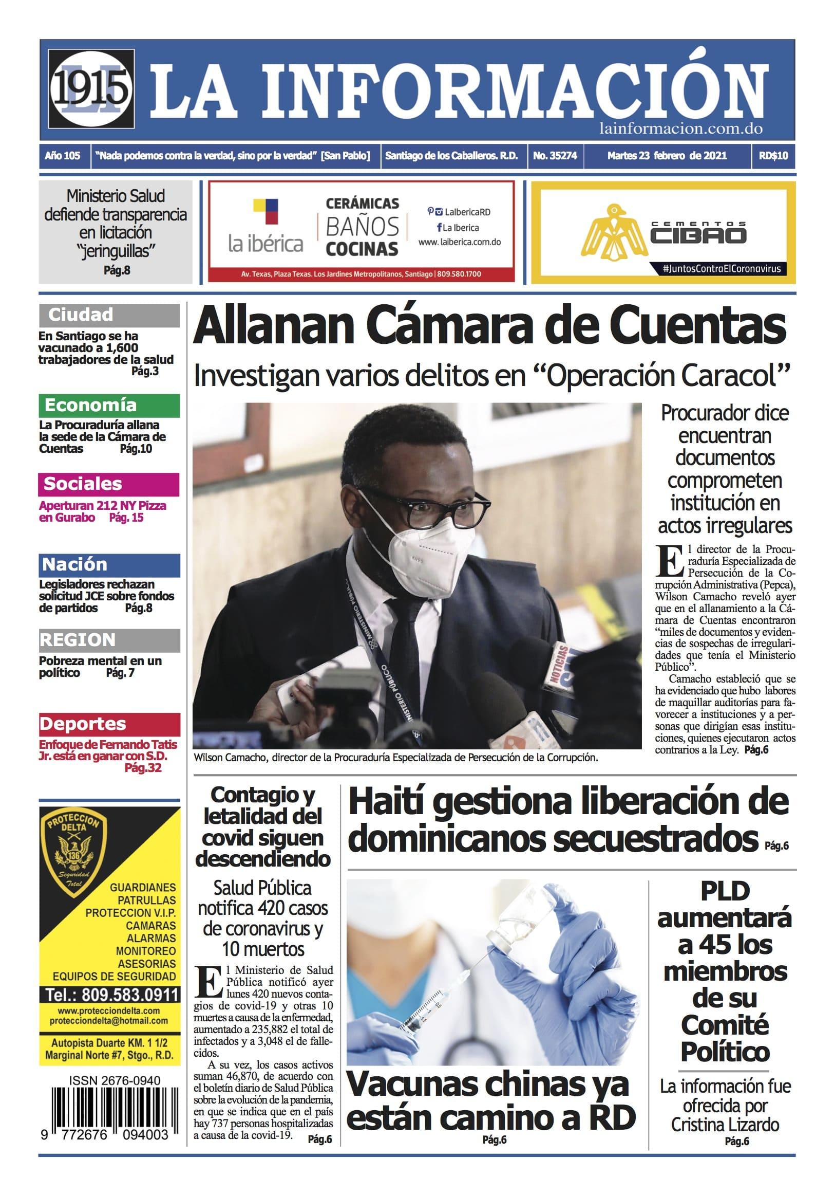 Portada Periódico La Información, Martes 23 de Febrero, 2021