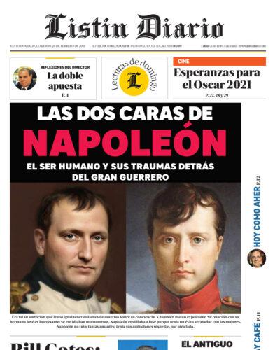 Portada Periódico Listín Diario, Domingo 28 de Febrero, 2021