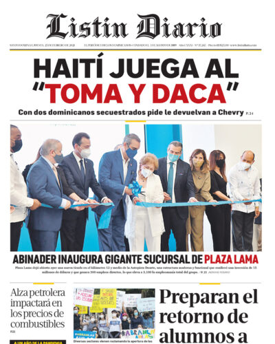 Portada Periódico Listín Diario, Jueves 25 de Febrero, 2021