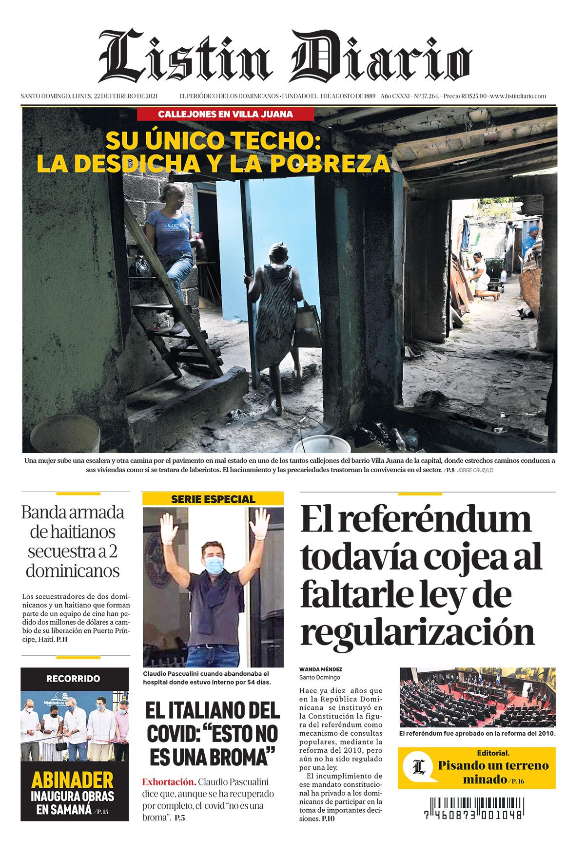 Portada Periódico Listín Diario, Lunes 22 de Febrero, 2021