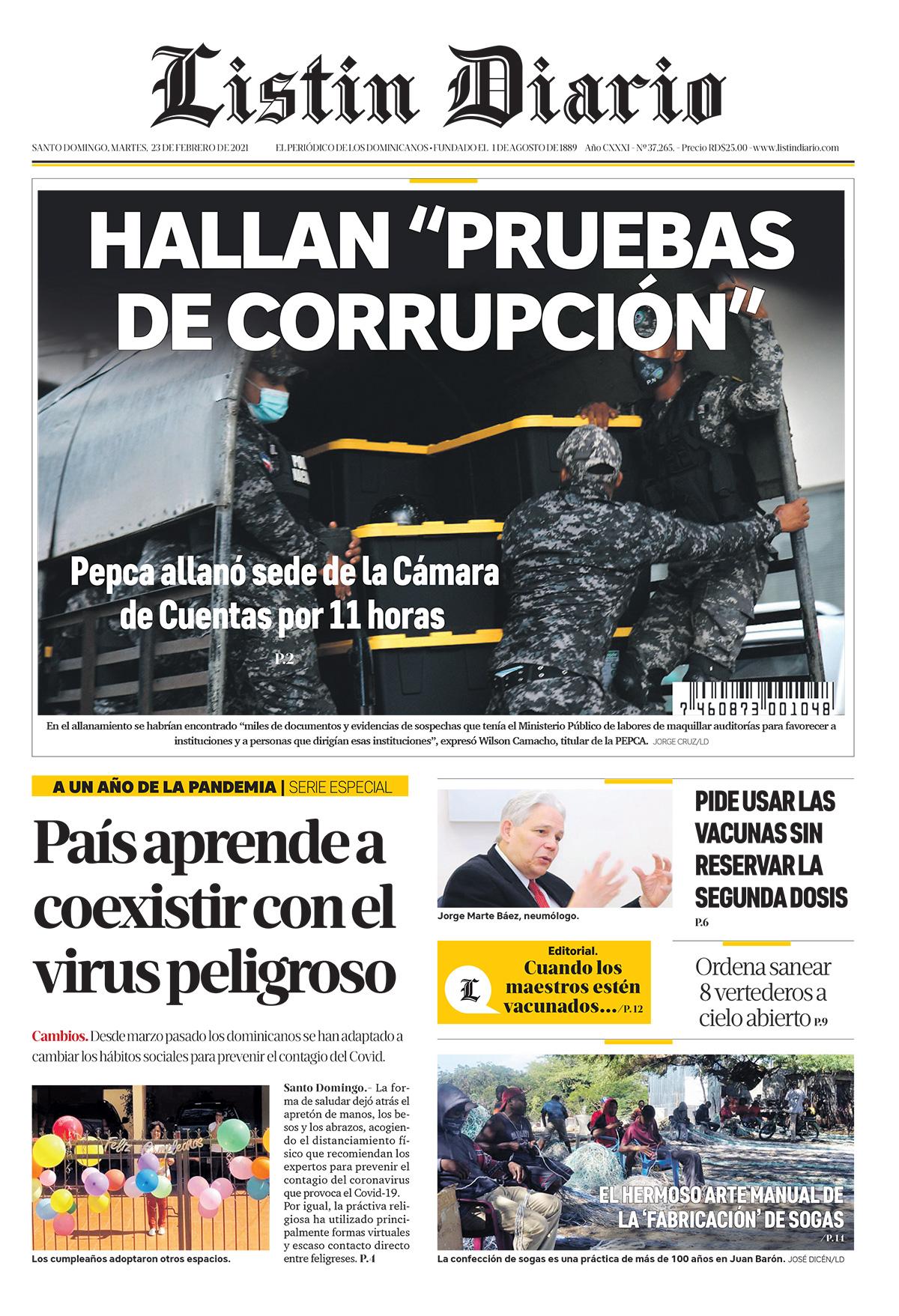 Portada Periódico Listín Diario, Martes 23 de Febrero, 2021