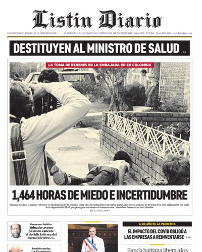 Portada Periódico Listín Diario, Viernes 26 de Febrero, 2021