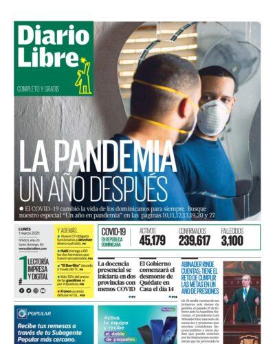 Portada Periódico Diario Libre, Lunes 01 de Marzo, 2021