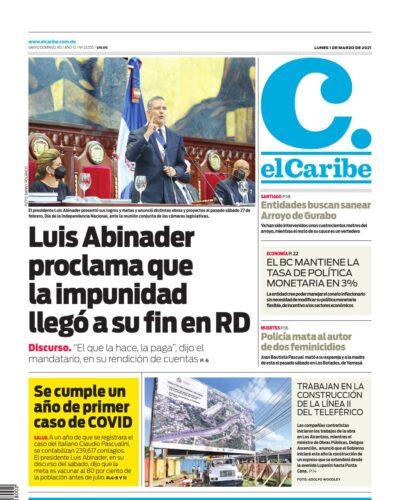 Portada Periódico El Caribe, Lunes 01 de Marzo, 2021