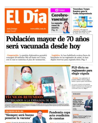 Portada Periódico El Día, Lunes 01 de Marzo, 2021