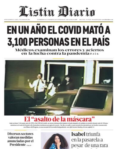 Portada Periódico Listín Diario, Lunes 01 de Marzo, 2021