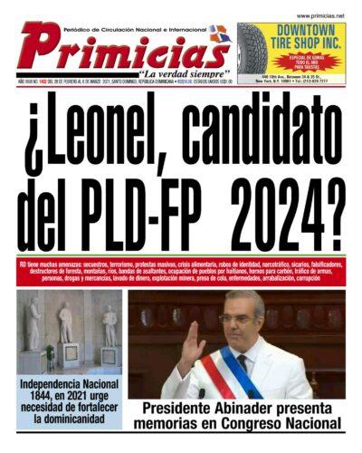 Portada Periódico Primicias, Lunes 01 de Marzo, 2021