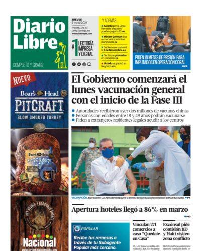 Portada Periódico Diario Libre, Jueves 06 de Mayo, 2021