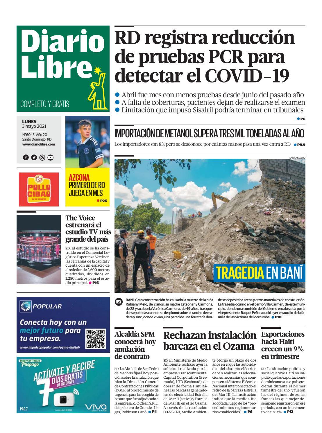 Portada Periódico Diario Libre, Lunes 03 de Mayo, 2021