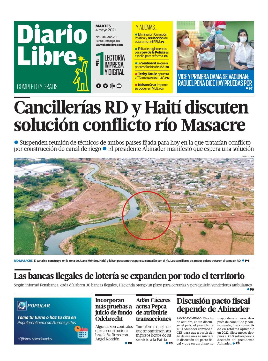 Portada Periódico Diario Libre, Martes 04 de Mayo, 2021