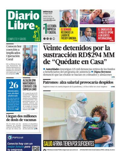 Portada Periódico Diario Libre, Miércoles 05 de Mayo, 2021