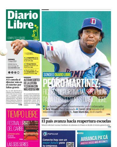 Portada Periódico Diario Libre, Viernes 07 de Mayo, 2021