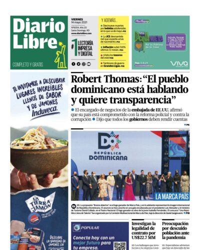 Portada Periódico Diario Libre, Viernes 14 de Mayo, 2021