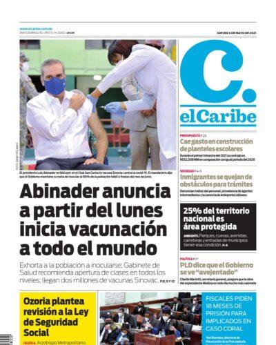 Portada Periódico El Caribe, Jueves 06 de Mayo, 2021