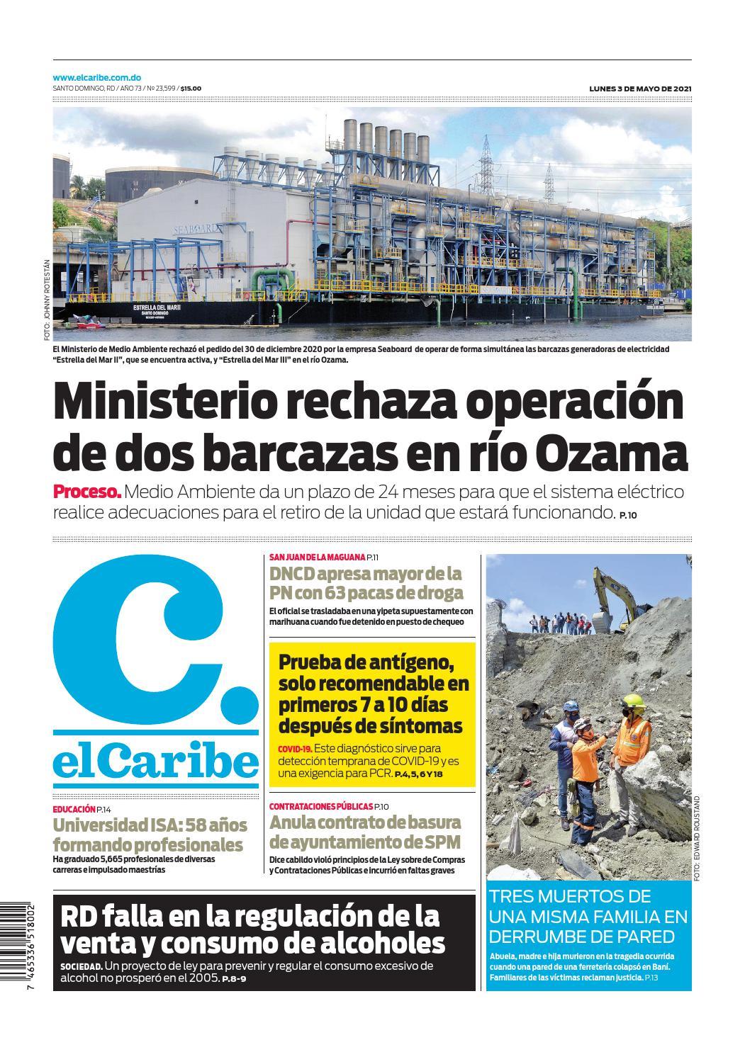 Portada Periódico El Caribe, Lunes 03 de Mayo, 2021
