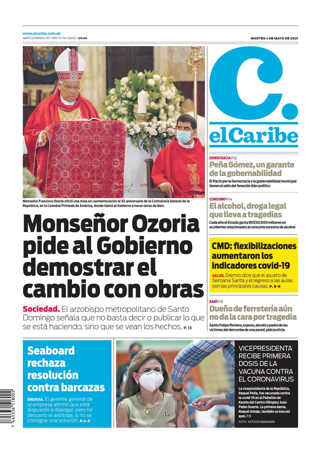 Portada Periódico El Caribe, Martes 04 de Mayo, 2021
