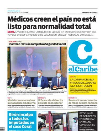 Portada Periódico El Caribe, Viernes 07 de Mayo, 2021