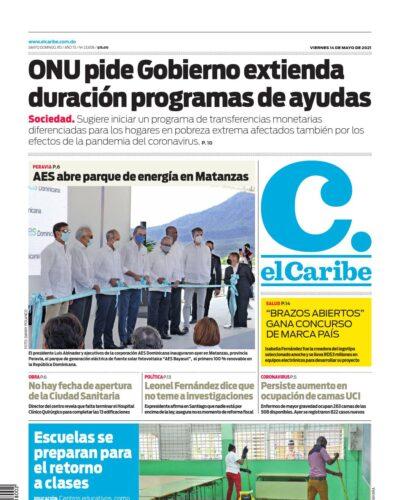 Portada Periódico El Caribe, Viernes 14 de Mayo, 2021