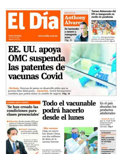 Portada Periódico El Día, Jueves 06 de Mayo, 2021