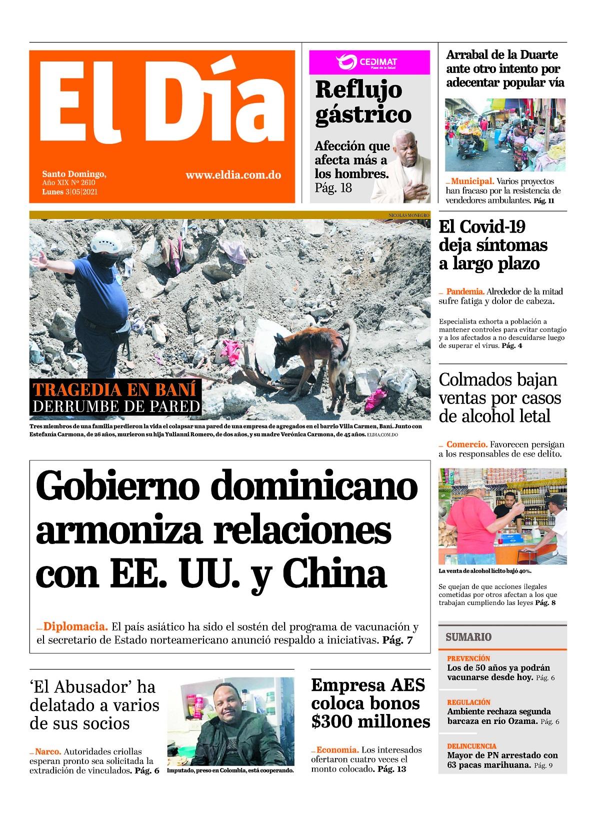 Portada Periódico El Día, Lunes 03 de Mayo, 2021