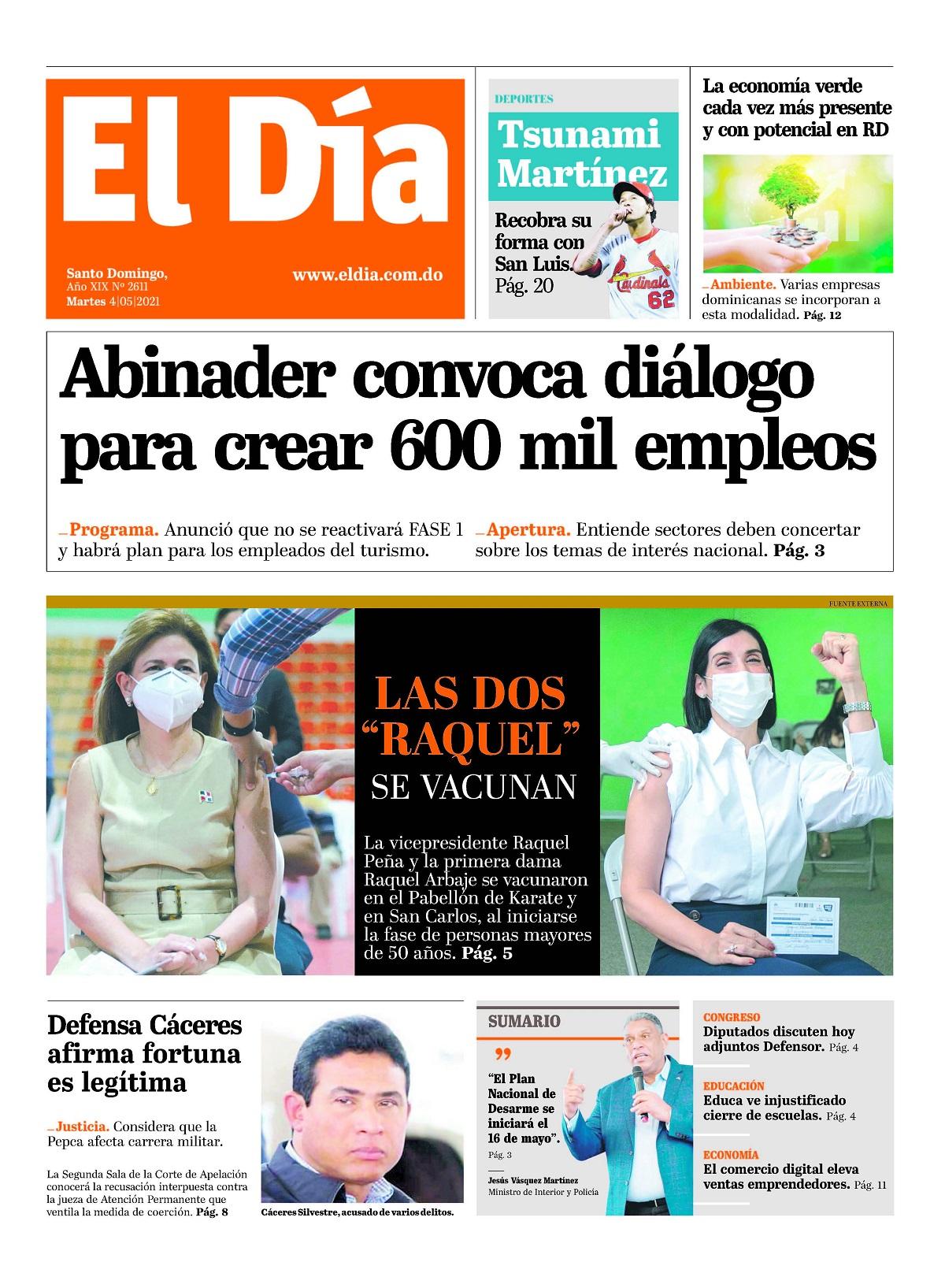 Portada Periódico El Día, Martes 04 de Mayo, 2021