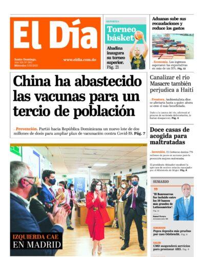 Portada Periódico El Día, Miércoles 05 de Mayo, 2021