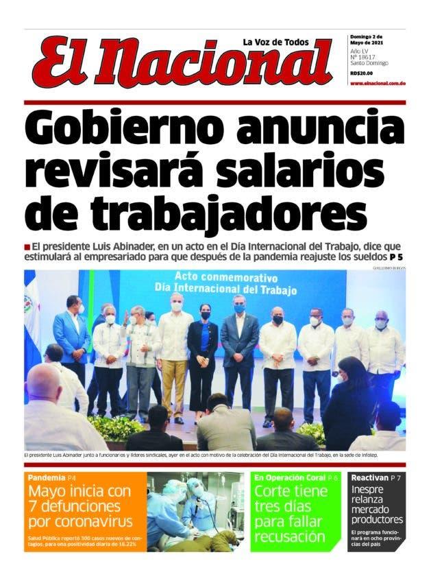 Portada Periódico El Nacional, Dominicana 02 de Mayo, 2021