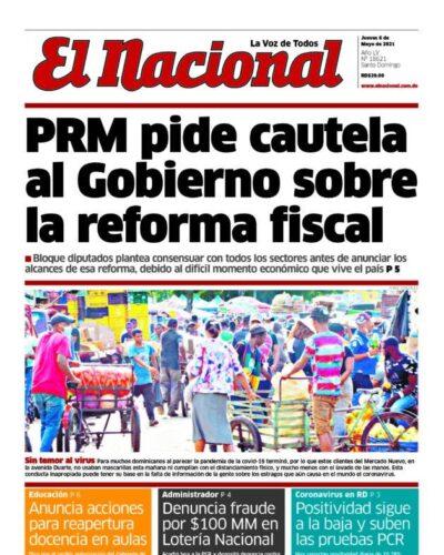 Portada Periódico El Nacional, Jueves 06 de Mayo, 2021