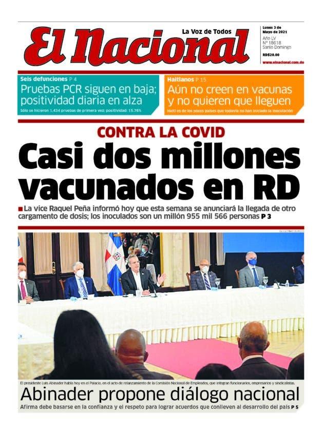 Portada Periódico El Nacional, Lunes 03 de Mayo, 2021
