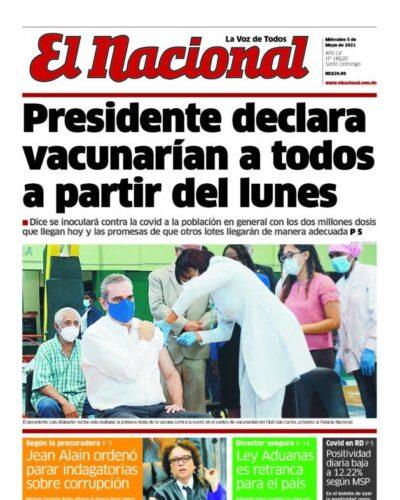 Portada Periódico El Nacional, Miércoles 05 de Mayo, 2021