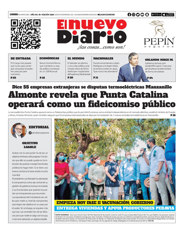 Portada Periódico El Nuevo Diario, Lunes 03 de Mayo, 2021