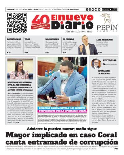 Portada Periódico El Nuevo Diario, Viernes 07 de Mayo, 2021