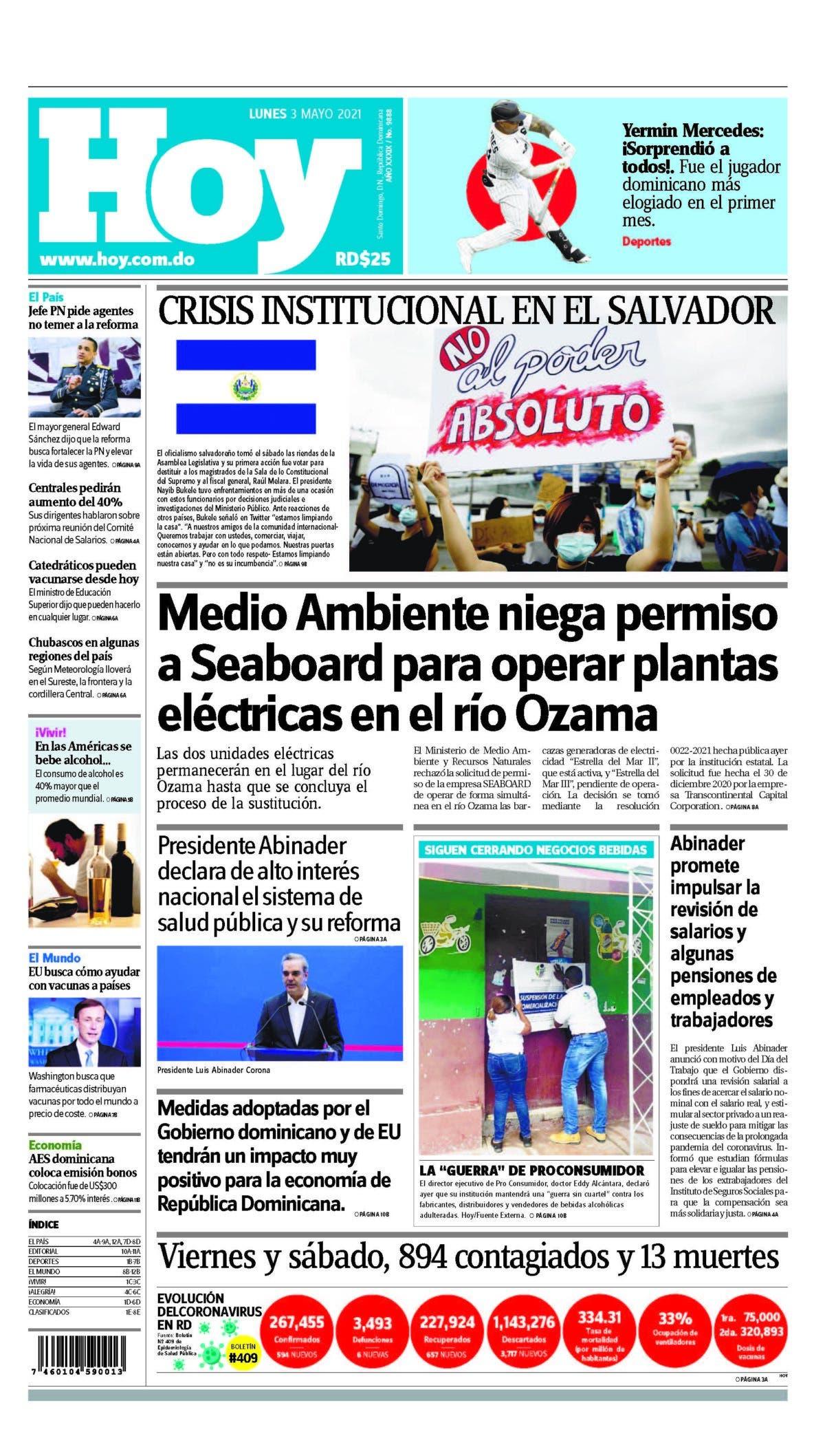 Portada Periódico Hoy, Lunes 03 de Mayo, 2021