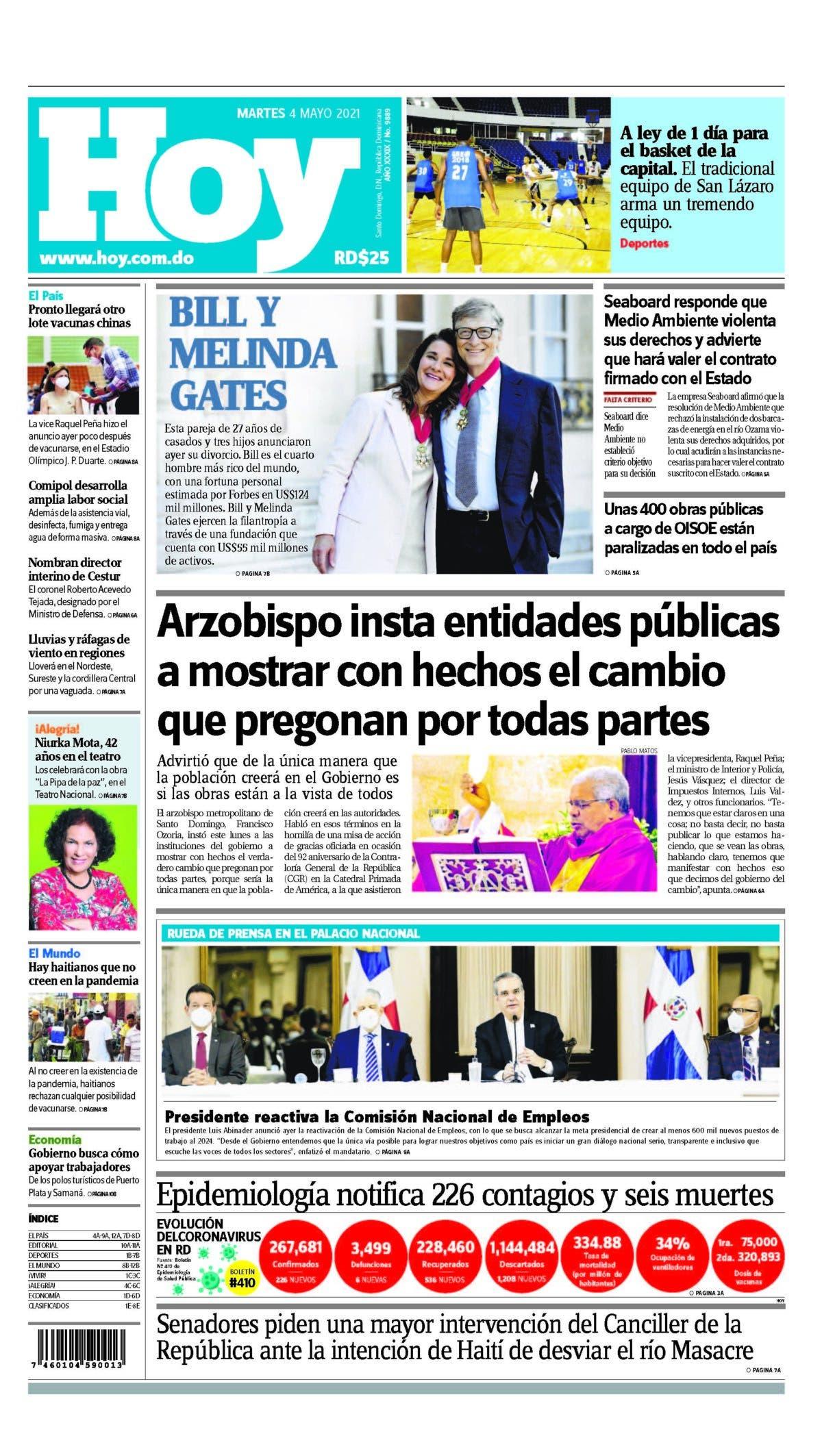 Portada Periódico Hoy, Martes 04 de Mayo, 2021