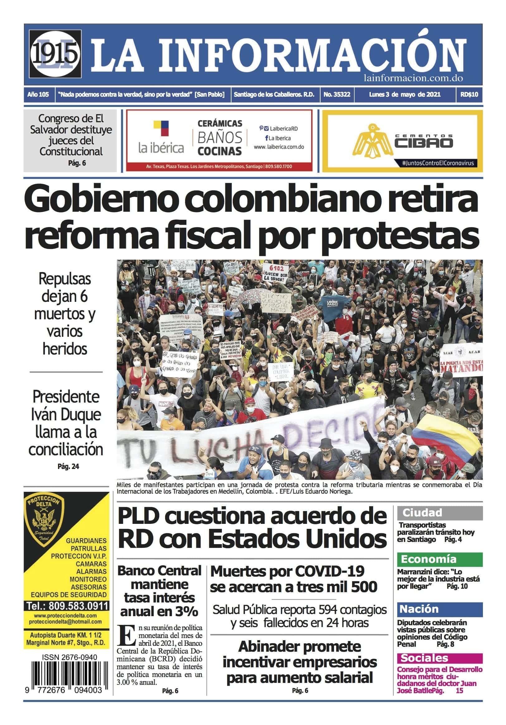 Portada Periódico La Información, Lunes 03 de Mayo, 2021
