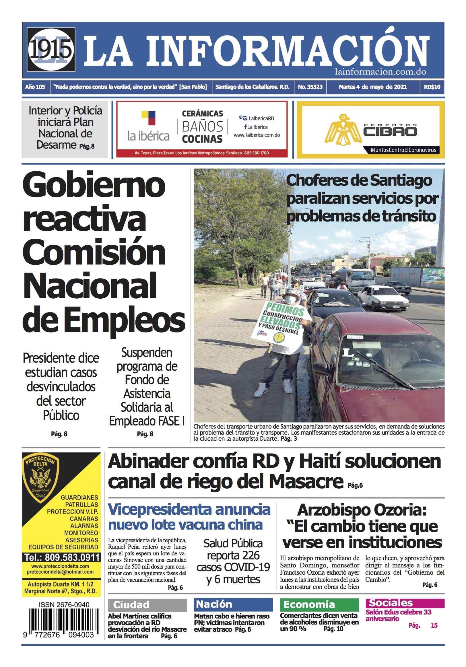 Portada Periódico La Información, Martes 04 de Mayo, 2021